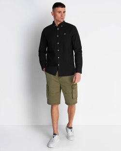 COTTON LINEN SHIRT - JET BLACK