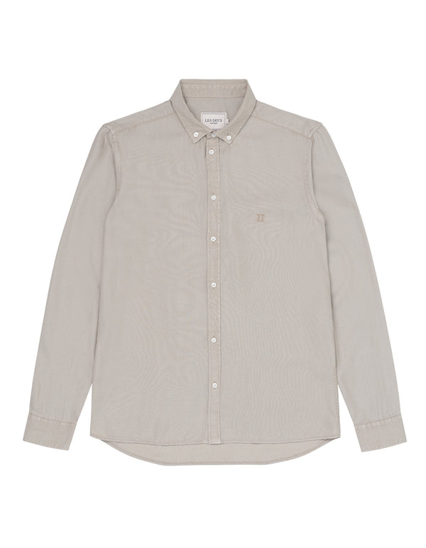 LAURENT TENCEL DOBBY SHIRT - DARK SAND