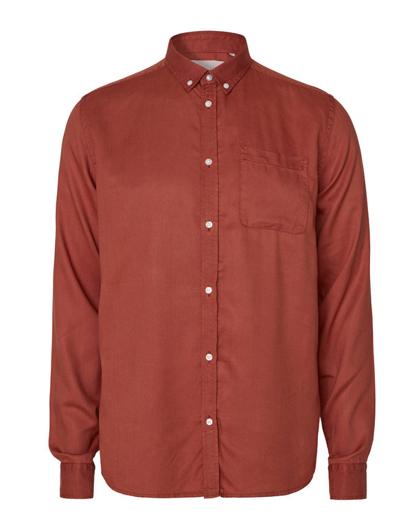 LAURENT TENCEL TWILL SHIRT - RUST RED