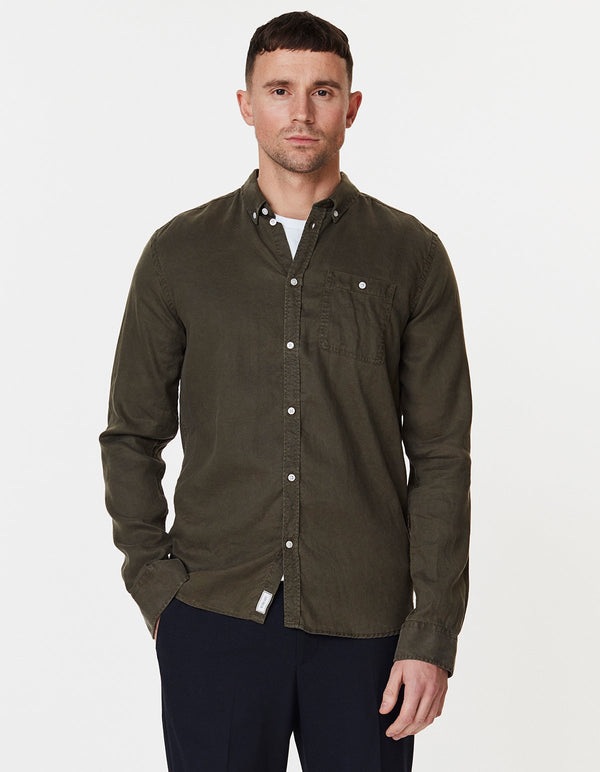 LAUREN TENCEL SHIRT - DARK GREEN