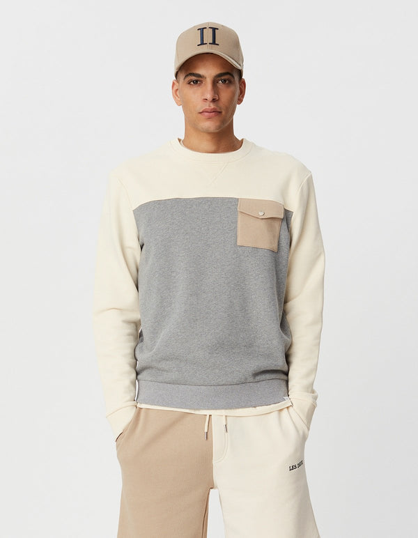 CAPRI BLOCK SWEATSHIRT - IVORY/LIGHT GREY MELANGE