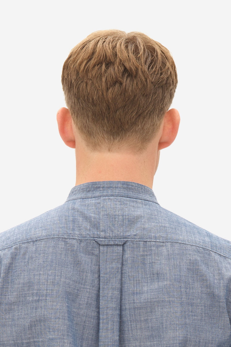 CHAMBRAY GRANDDAD SHIRT - MIDDLE BLUE
