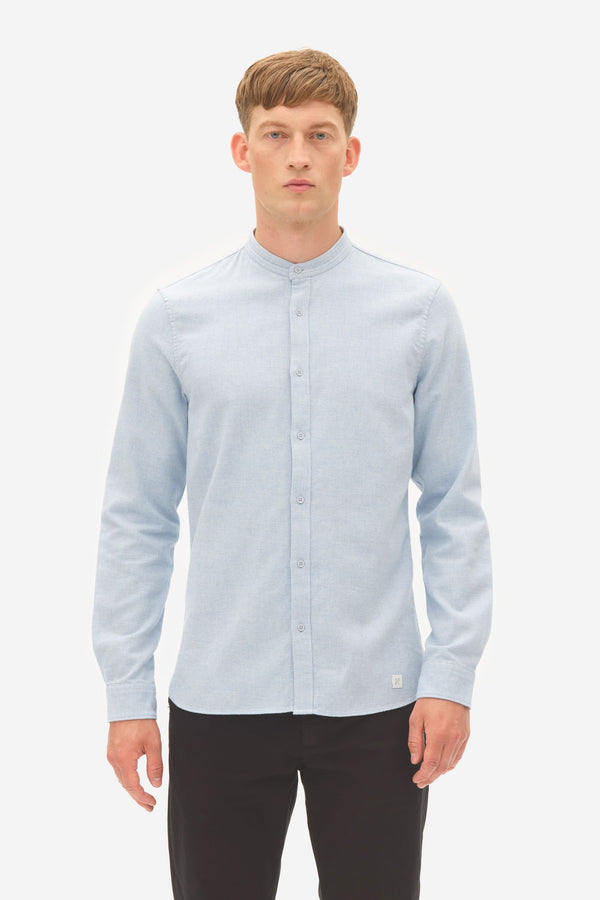 BRUSHED TWILL GRANDDAD SHIRT - BLUE