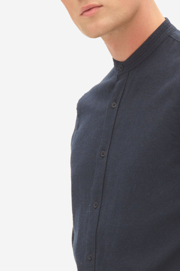 BRUSHED TWILL GRANDDAD SHIRT - SKY CAPTAIN