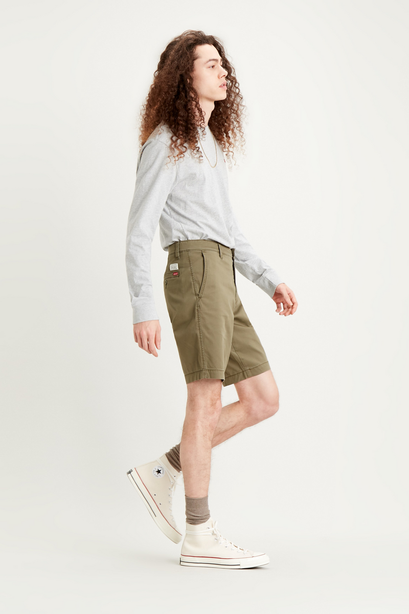 CHINO TAPER SHORT - BUNKER/GREEN