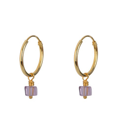 SMALLER LOOP  EARING GOLD  - AMETHYST