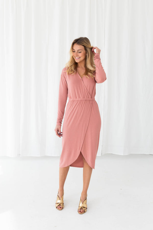 LYLA LS DRESS - ASH ROSE