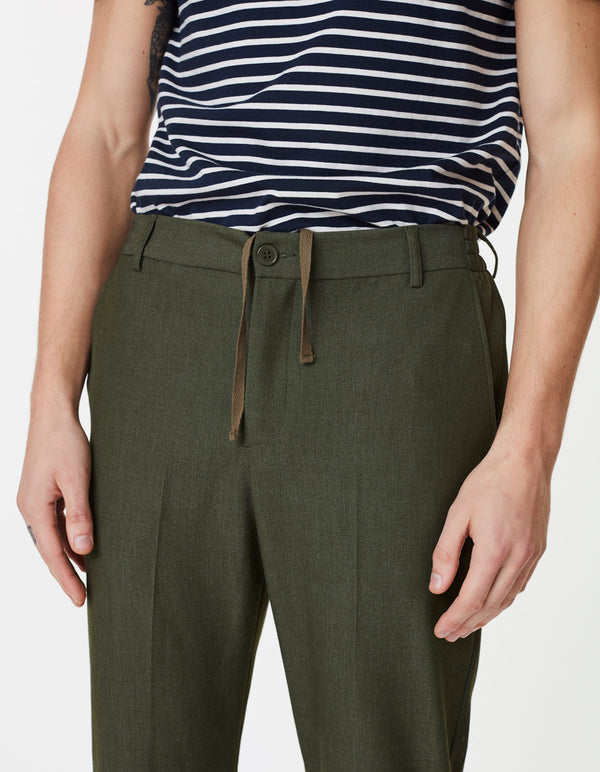 PINO ELASTIC WAIST PANTS - DARK GREEN