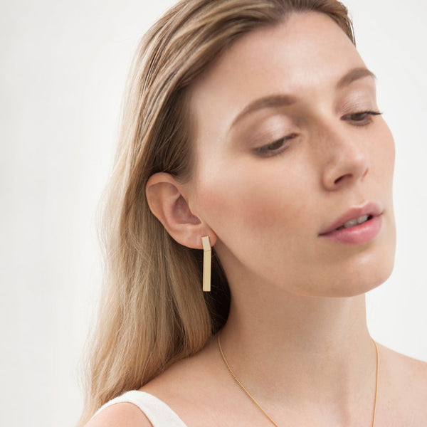 GOLD BAR EARRINGS - GOLD