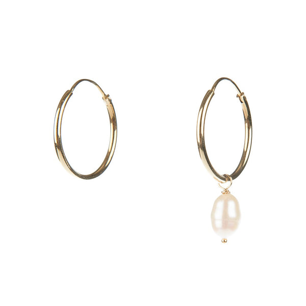 FRESH WATER PEARL HOOPS - GOLD