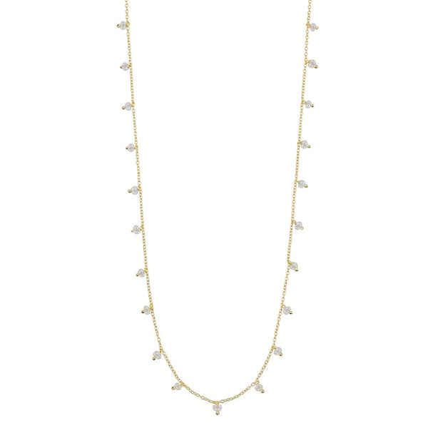 DAINTY PEARL SHORTIE NECKLACE - GOLD