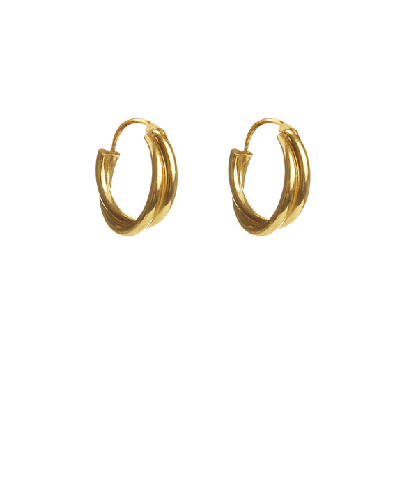 DOUBLE TWISTED HOOPS - GOLD PLATED