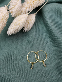 BIGGER LOOP EARING - GREEN JASPIS GOLD