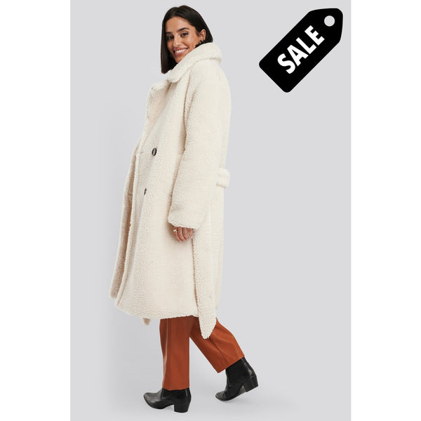 Belted Long Teddy Coat - Offwhite Jacket
