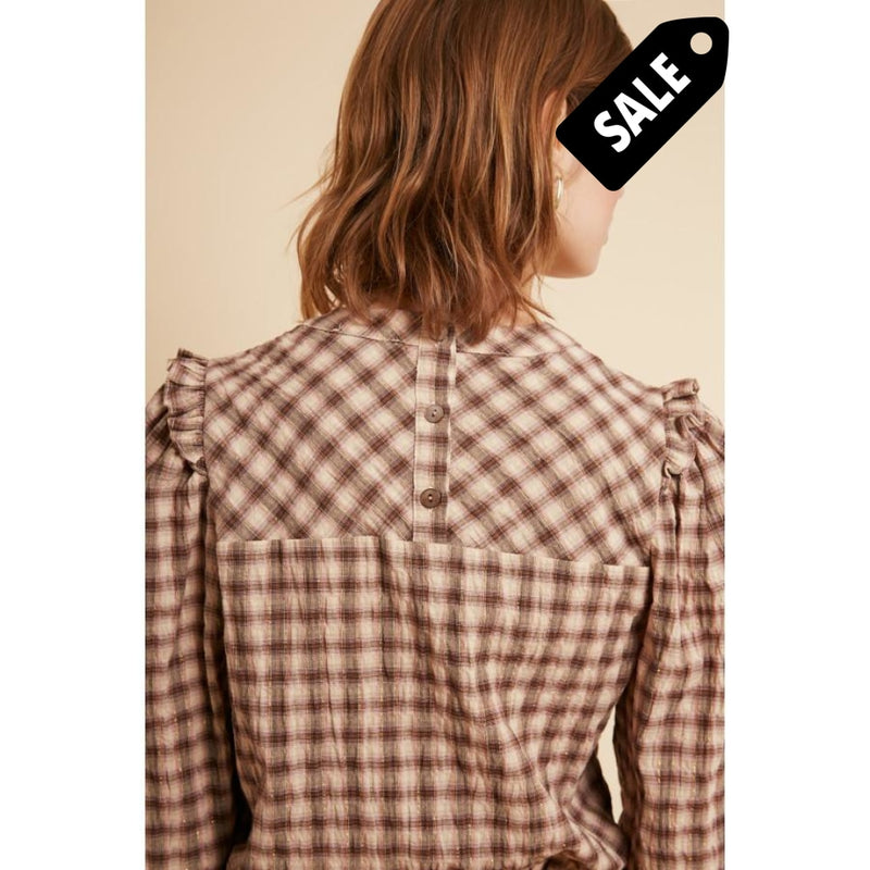 Carmella Top - Rose Checkered Top