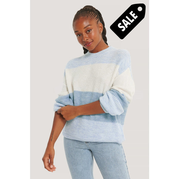 Color Striped Knitted Sweater - Blue Xs