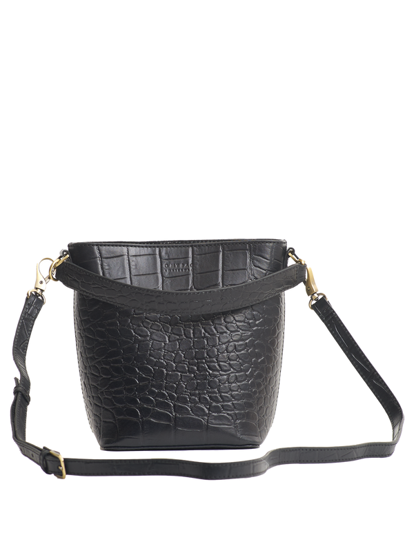 BOBBI BUCKET BAG - BLACK CROCO