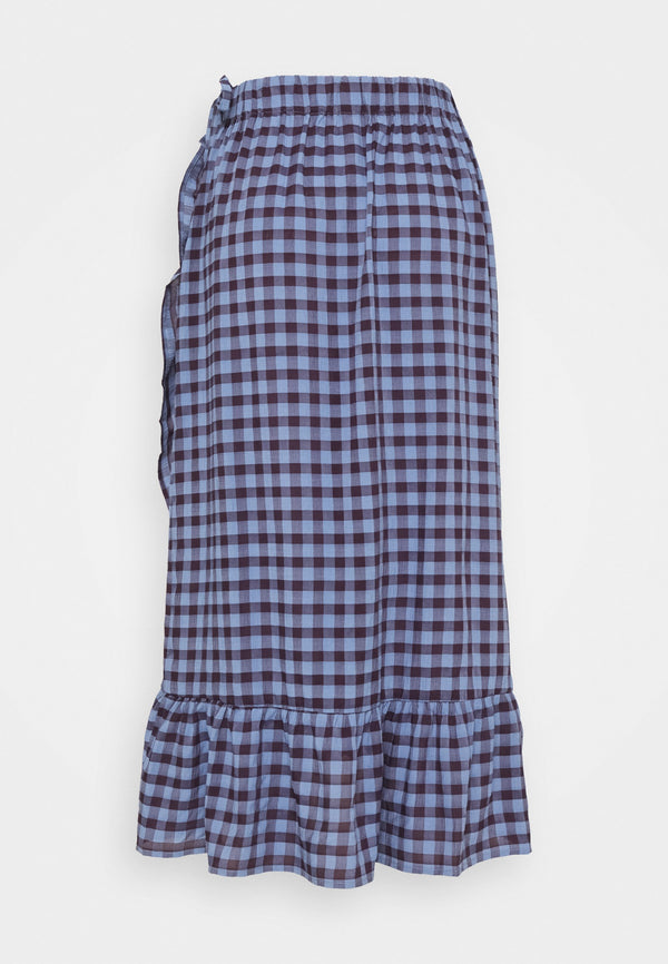 BLUMA WRAP SKIRT - COUNTRY BLUE CHECKS