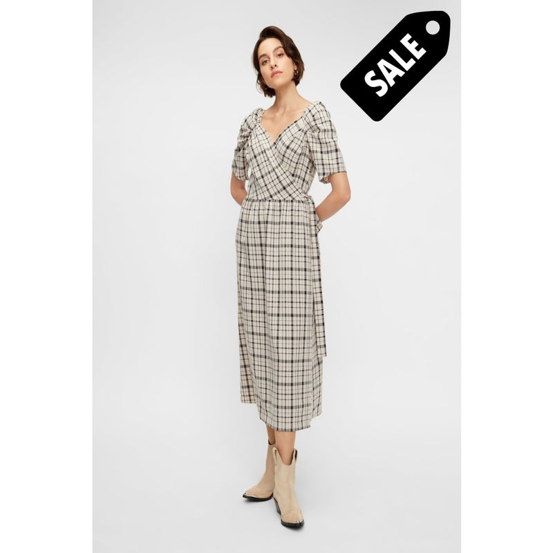 Ebru 2/4 Dress - Creme Checks