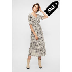 Ebru 2/4 Dress - Creme Checks Xs