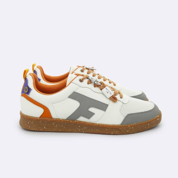 Hazel Sneakers - Cream & Orange In Leather Recycled Polyester 42 Shoes