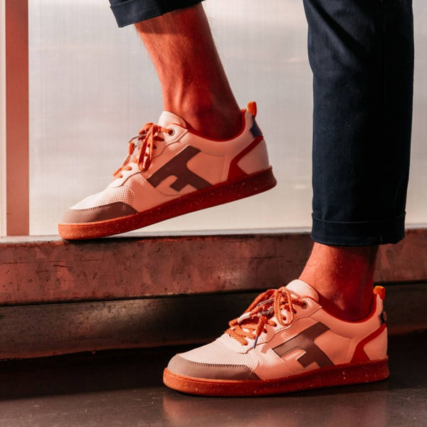 Hazel Sneakers - Cream & Orange In Leather Recycled Polyester Shoes
