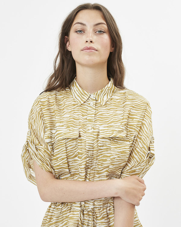 ENGA SHIRT DRESS - DRIED TOBACCO