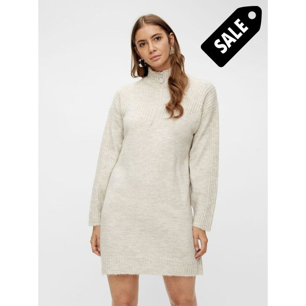Imina Ls Highneck Knit Dress - Eggnog