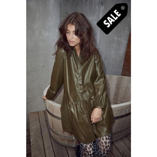 Iris Pu Shirt Dress - Army