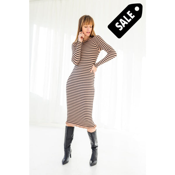 Jeanie Knit Dress - Black/camel Stripe