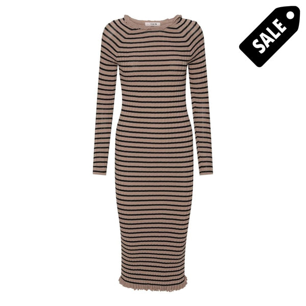 Jeanie Knit Dress - Black/camel Stripe 34