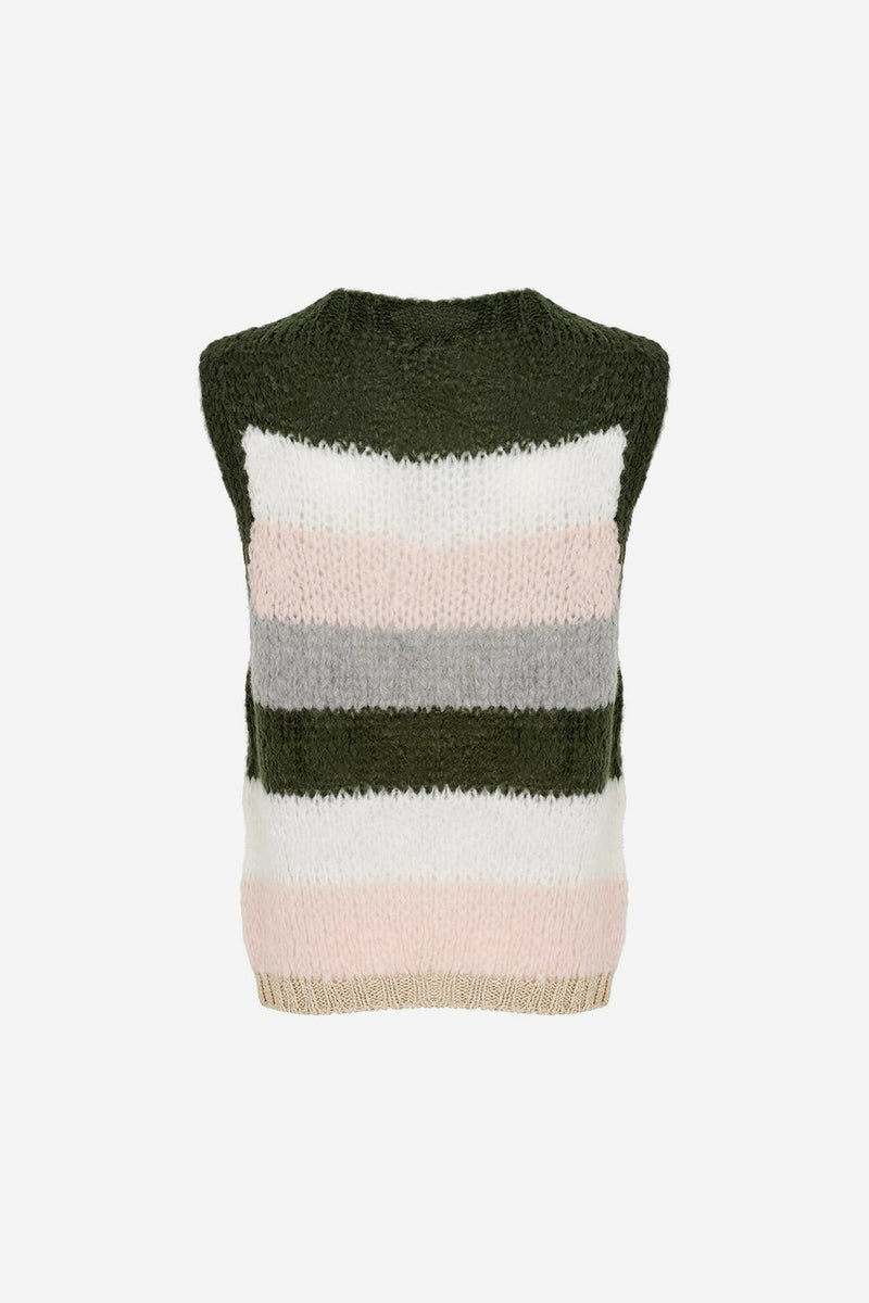 KALA VEST WOOL - OLIVE GREEN/ROSE STRIPES