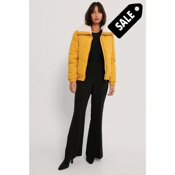Padded Teddy Detail Jacket - Yellow 34
