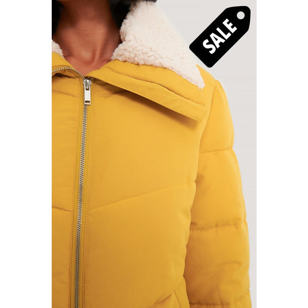 Padded Teddy Detail Jacket - Yellow
