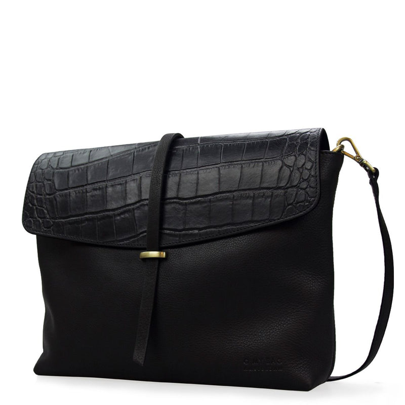 ELLA - BLACK CROCO / BLACK LEATHER