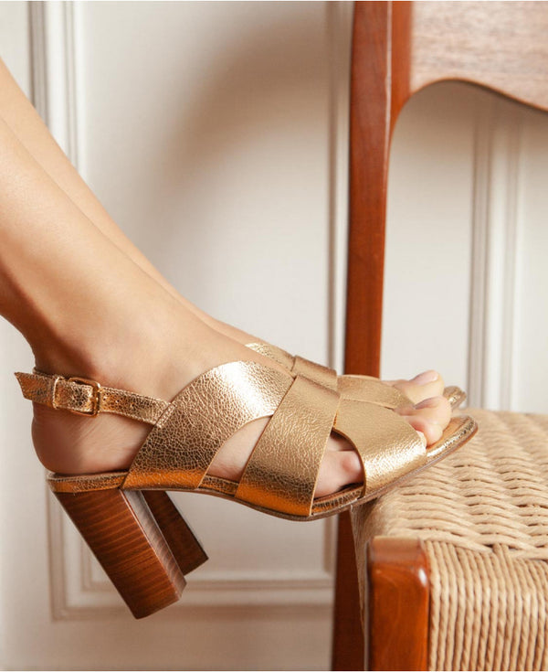 SANDALES N°55 - LEATHER GOLD