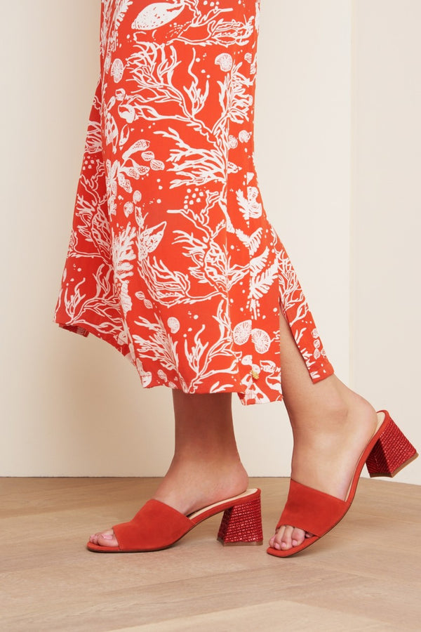 TED MULE - CORAL  SUEDE