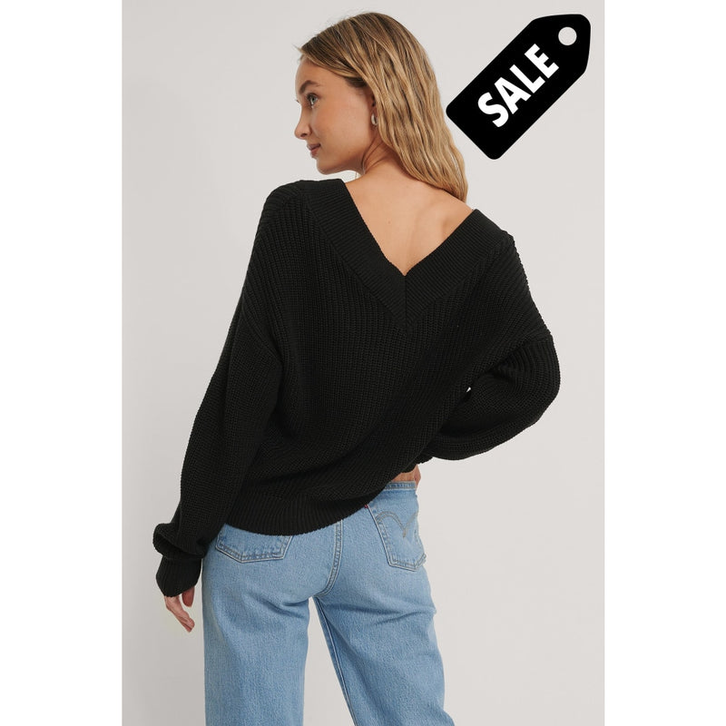 V-Neck Rib Knitted Sweater - Black Knitwear