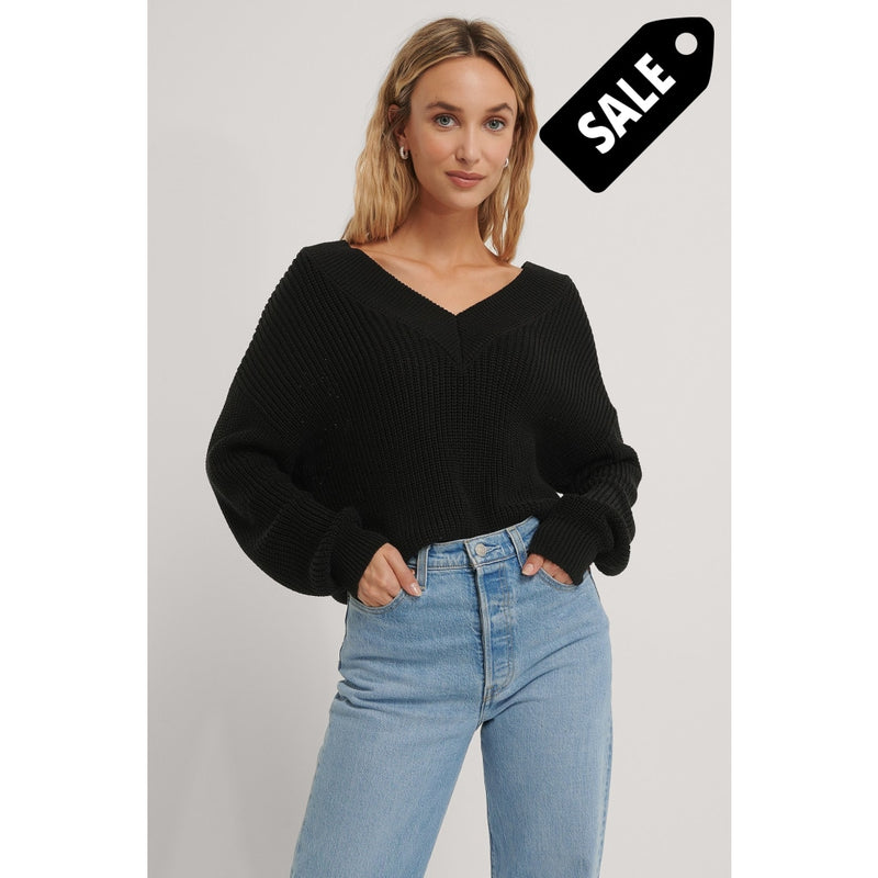 V-Neck Rib Knitted Sweater - Black Xs Knitwear