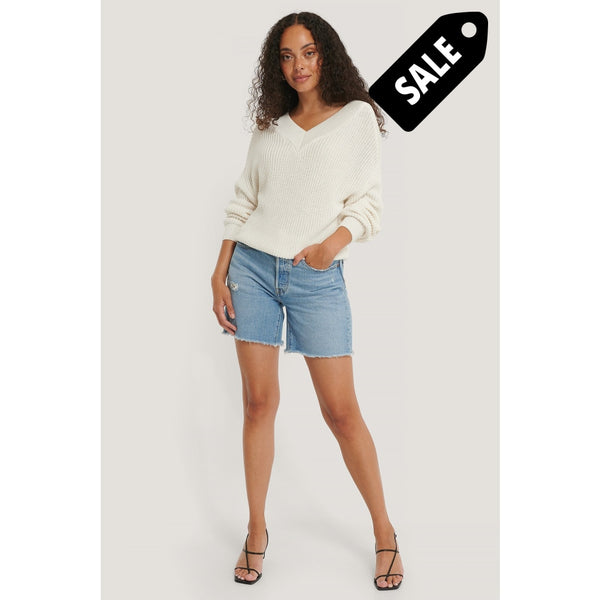 V-Neck Rib Knitted Sweater - White Knitwear