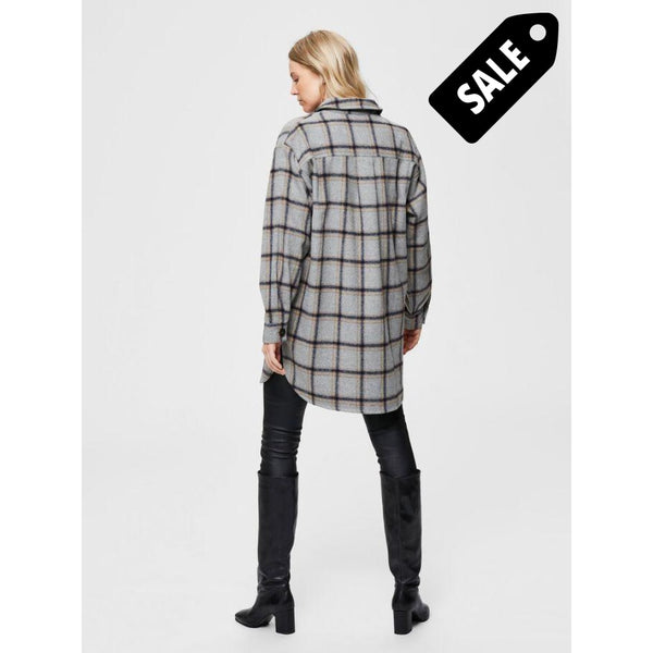 Vanessa Ls Long Shirt Jacket - Grey Checks