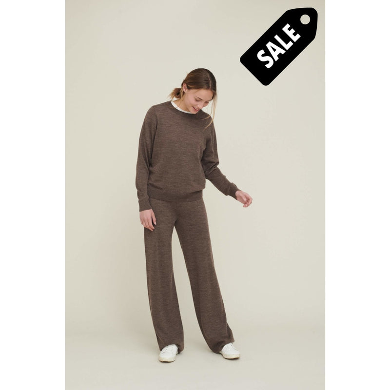 Vera Wide Pants - Brown Melange Pant