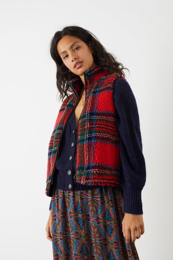 VARECH VEST - RED CHECKS TARTAN