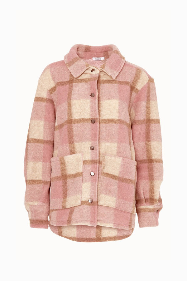 VIKSA JACKET WOOL - DARK ROSE/BEIGE