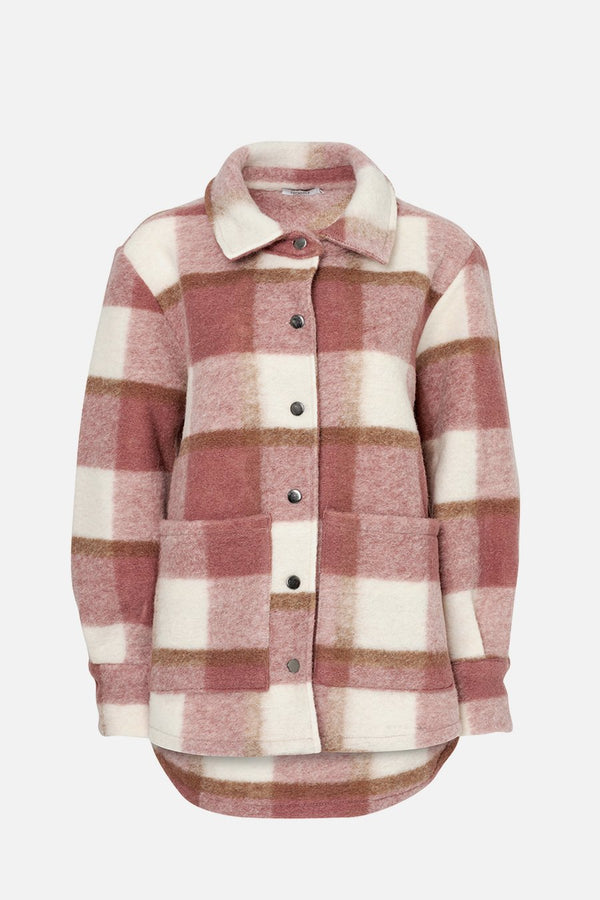 VIKSA JACKET WOOL - DARK ROSE/OFFWHITE