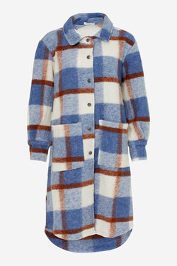 VIKSA JACKET LONG WOOL - NAVY/BROWN CHECKS