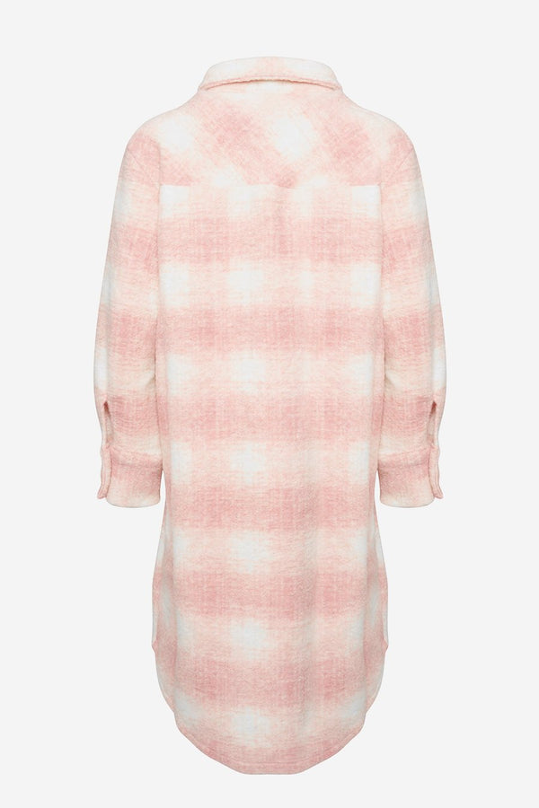 VIKSA JACKET LONG WOOL - PINK/WHITE CHECKS