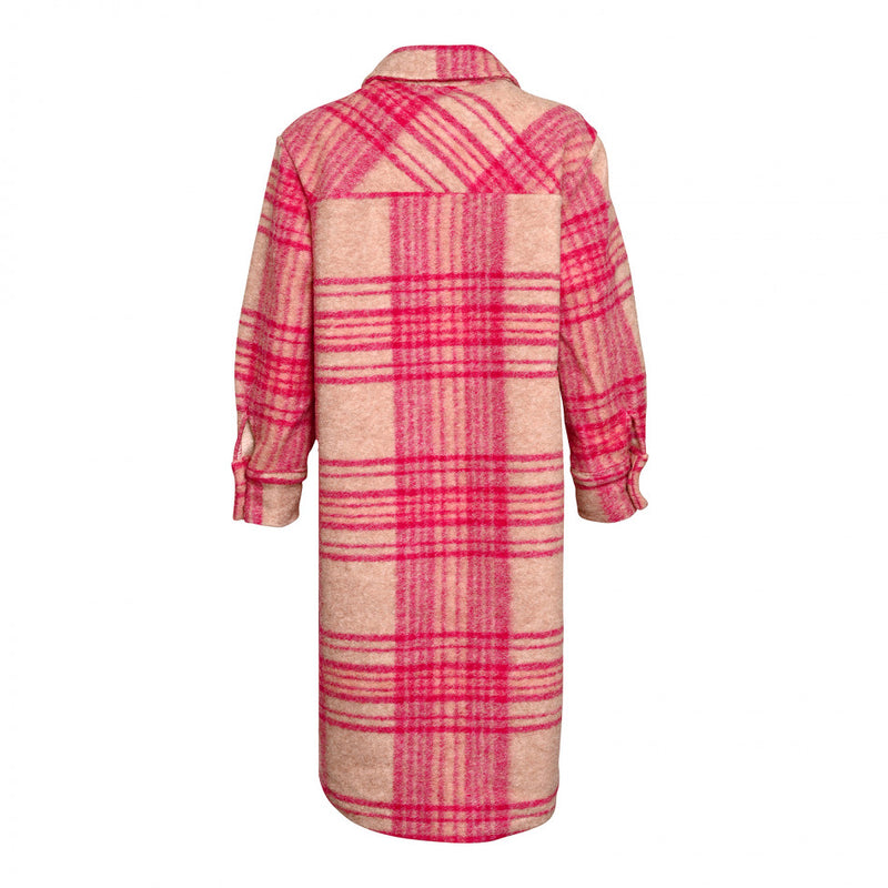 VIKSA JACKET LONG - CAMEL/PINK CHECKS