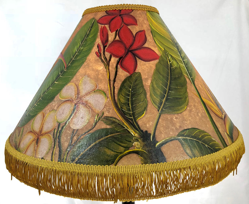 Rich Golden Plumeria 18 Inch Tall Lampshade
