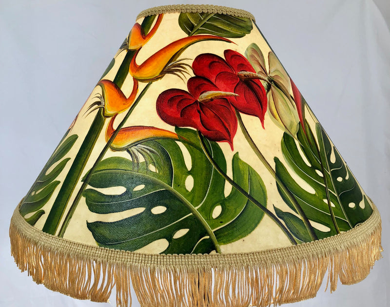 Monstera Heliconia & Anthurium 18 Inch Tall Lampshade